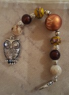 Owl Brown Yellow Scissorfob