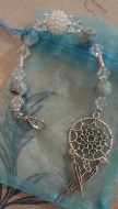 Web Of Life White Pearl with Blue Scissorfob